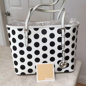 Michael Kors White Polka Dot Leather Bag Handbag